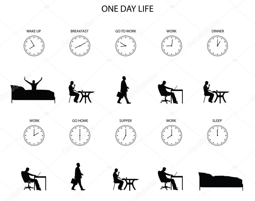 One day life of office worker — Stock Vector © rashad