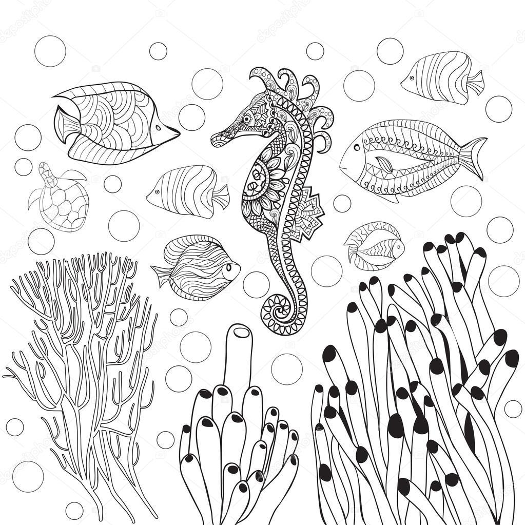 Kleurplaat met onderwater wereld zeeleven, vissen