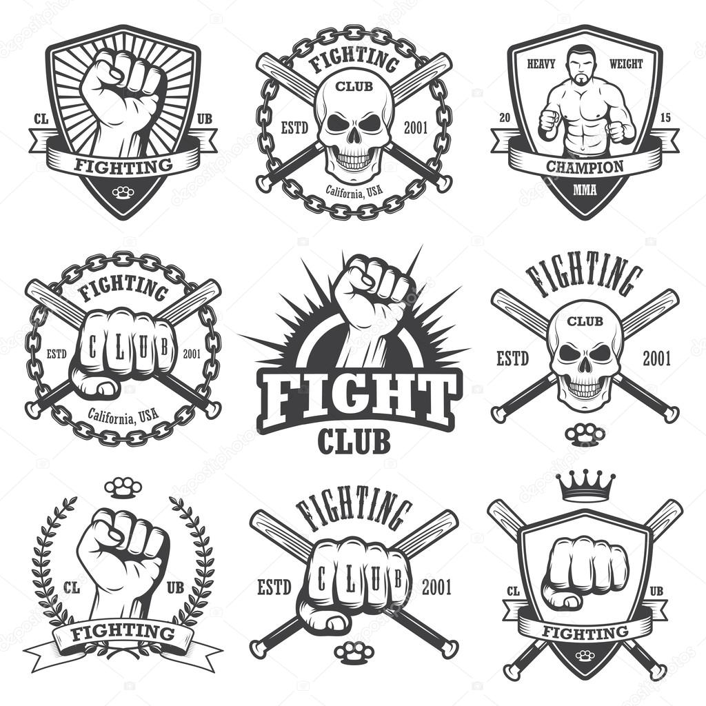 Set of cool fighting club emblems. — Stock Vector © Mogil