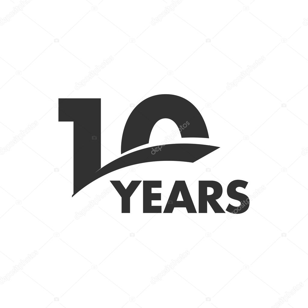 Isolated abstract 10 years anniversary vector logo. Happy