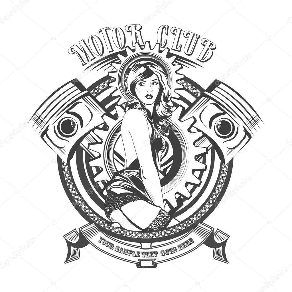 Vintage Motor Club Firma Y Sello Con Una Hermosa Mujer