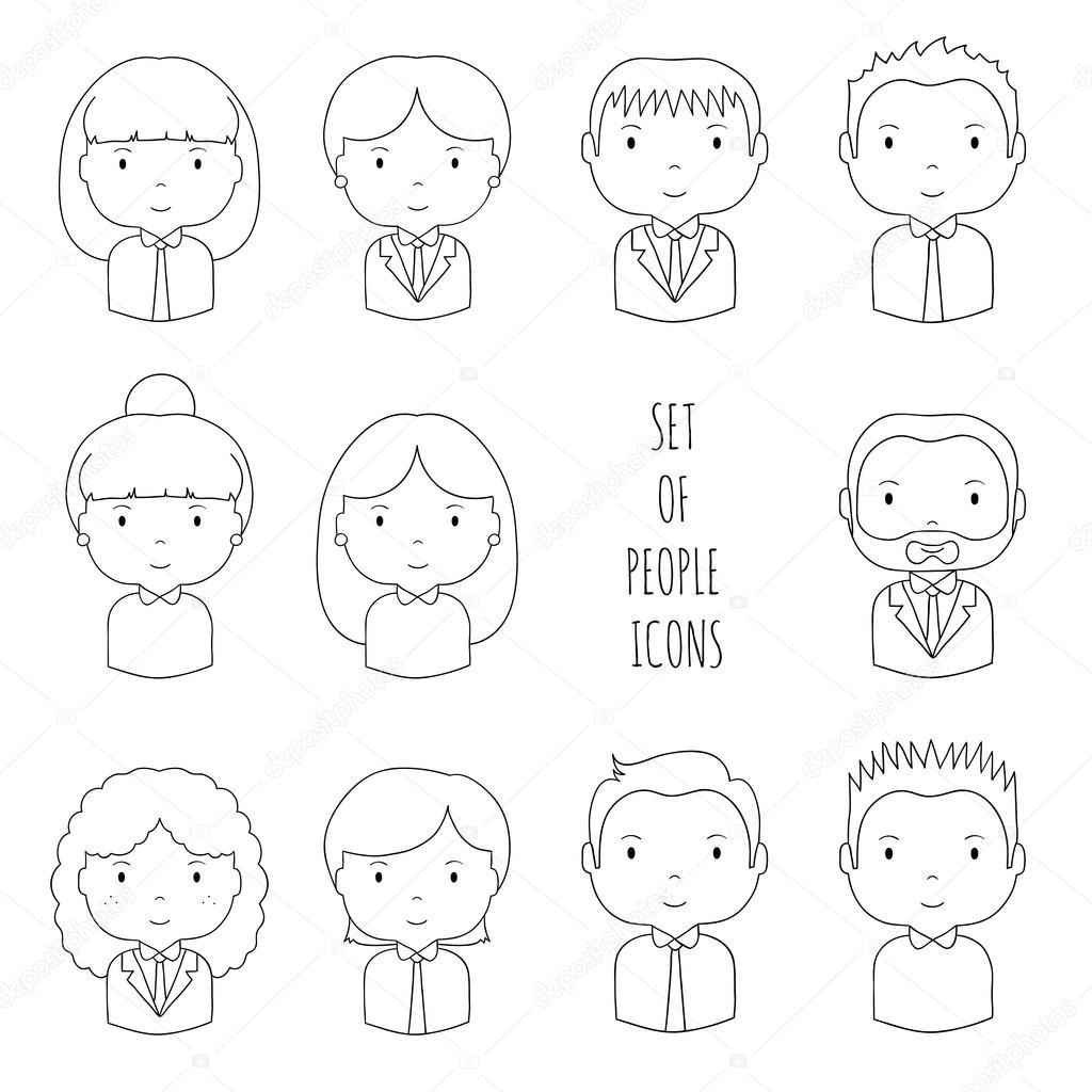 Set di icone di persone di riga sagoma dell'ufficio. Uomo