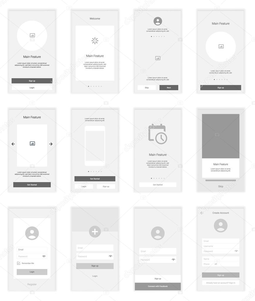 Mobile Screens wireframe User Interface Kit. Modern user