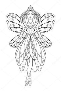 Ilustrao em vetor de uma rainha de fada bela flor para