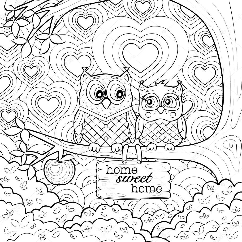 Terapia sztuką dorośli kolorowanki dwie sowy ładny