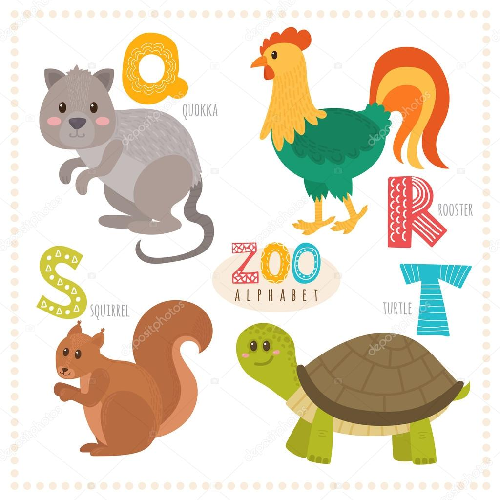 Image of: Zoo Animals Cute Cartoon Animals Zoo Alphabet With Funny Animals Q R S Letters Quokka Rooster Squirrel Turtle Vector Illustration Vector Van Saenal78 Depositphotos Cute Cartoon Animals Zoo Alphabet With Funny Animals Q R