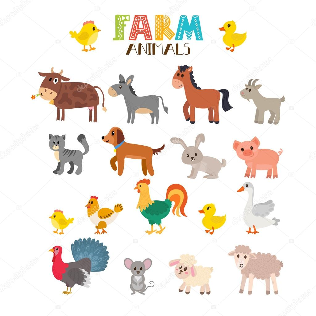 Farm Animals Vector Set Cute Cartoon Animals