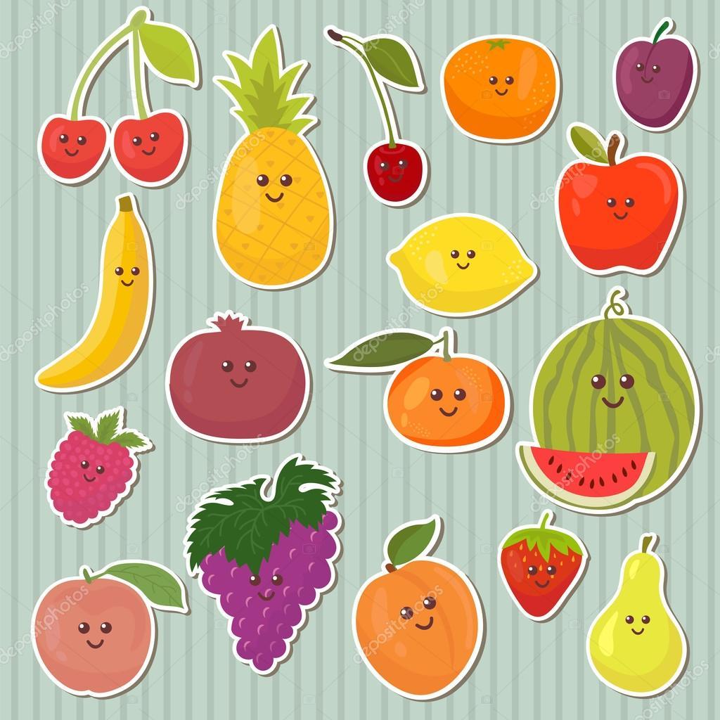 Dibujos comida sana  Cute dibujos animados frutas