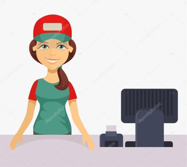 Cashier Dibujo Vector Cashier. Flat Cartoon Illustration