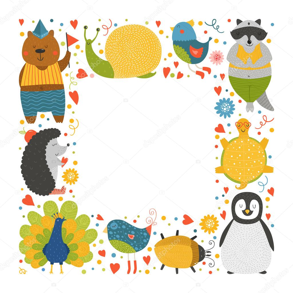 cute animal frame with