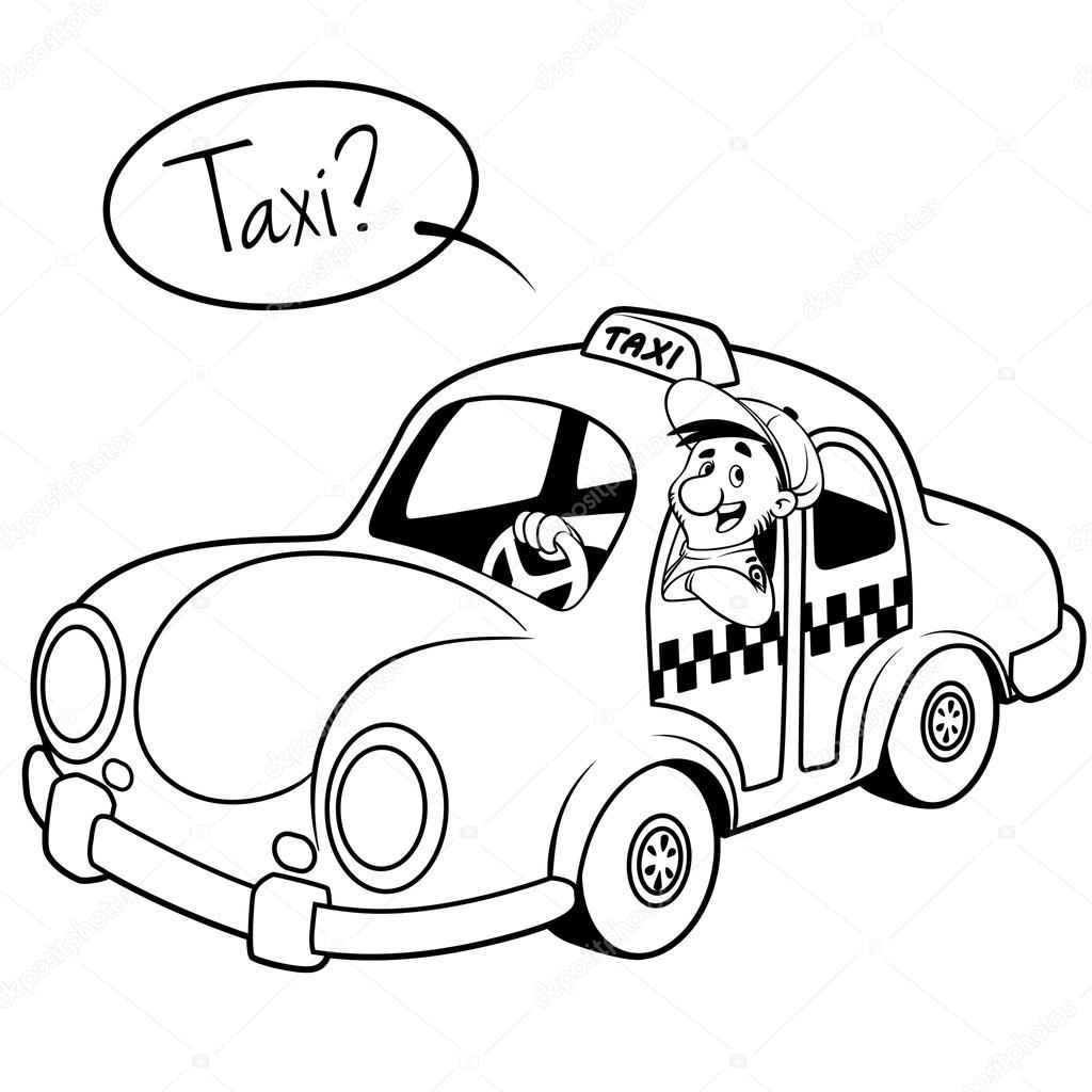 Taxi Driver In The Car Outline On A White Background