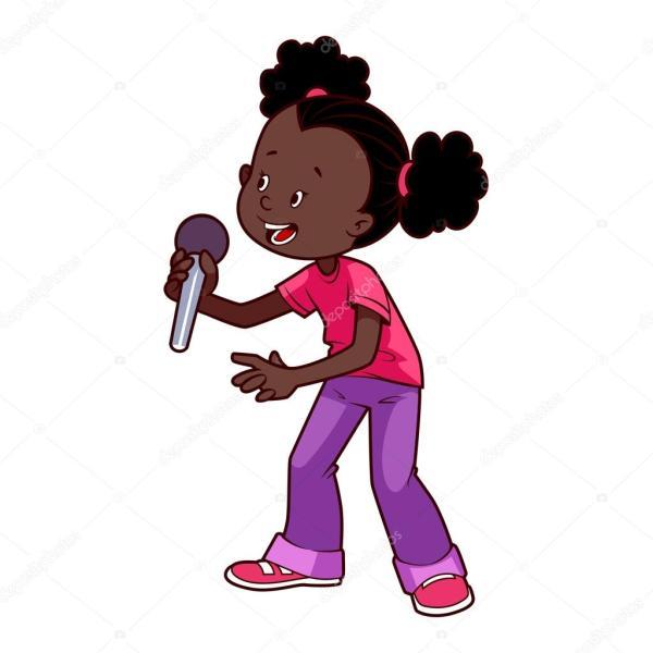 Fille Afro-ricaine De Dessin Anim Avec Micro Chant