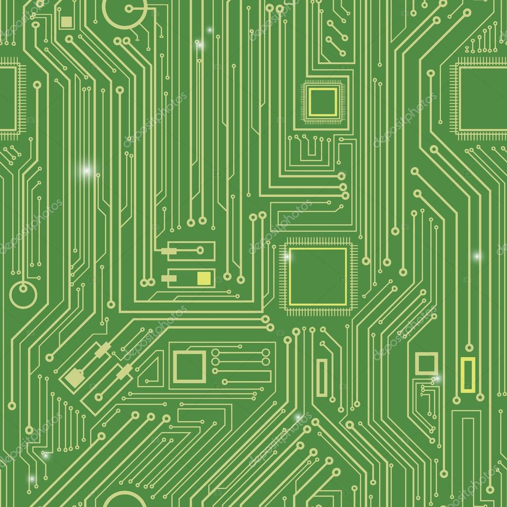 Seamless Printed Wiring Board Background Vector Illustration