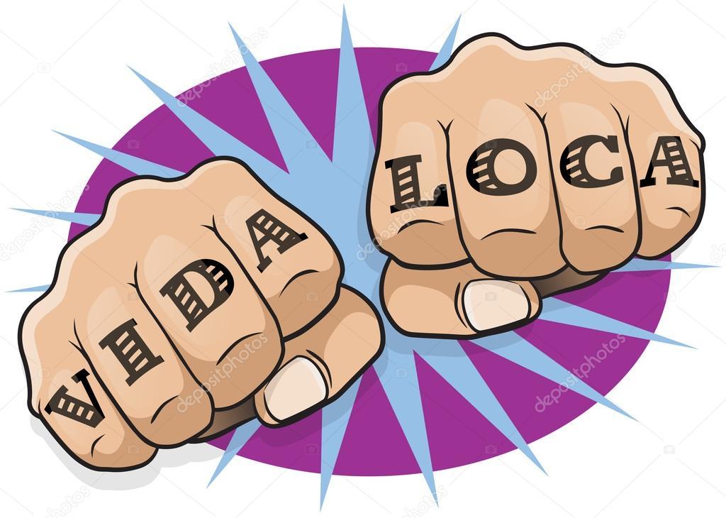 Pop Art Vida Loca Tattoo Fists Stock Vector Jorgenmac 87284206