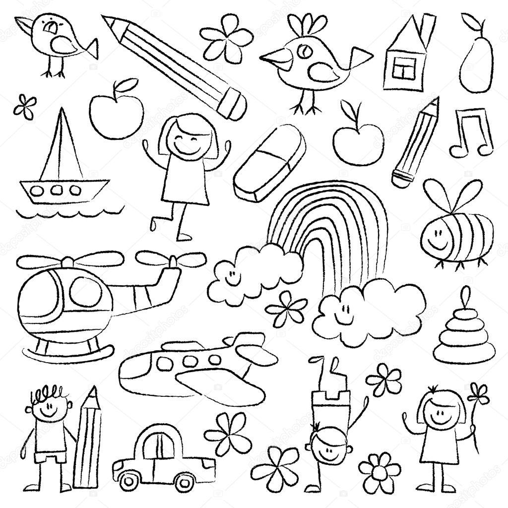 Kindergarten Doodle Pictures White Background