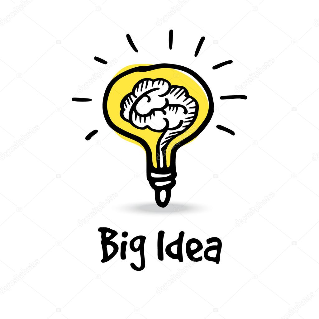 Light Bulb With Human Brain Big Idea Concept Hand Drawn
