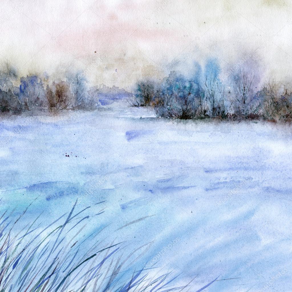 Paesaggio invernale dellacquerello  Foto Stock  oaurea 89747144