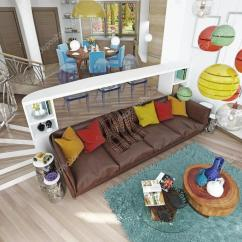 Kitschy Living Room Creative Ideas Luxury Large In The Style Of Kitsch Stock Photo Contemporary With Leather Brown Sofa Colorful Pillows And Two Green Chairs A