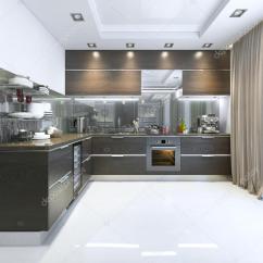 Marble Kitchen Floor Brushed Nickel Faucet 棕色与白色的墙壁和大理石地板的厨房当代 图库照片 C Kuprin33 107593766