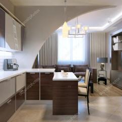 Kitchen Backslash Appliances 有光泽的极简主义厨房酒吧 — 图库照片©kuprin33#83419166