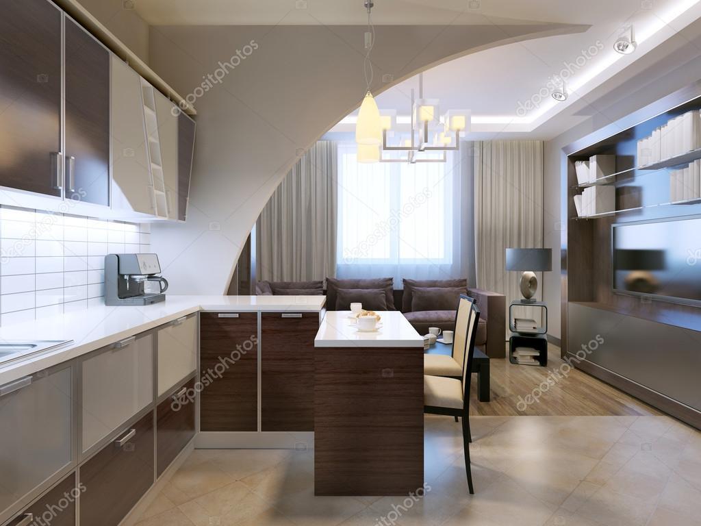 kitchen backspash delta pull down faucet 有光泽的极简主义厨房酒吧 — 图库照片©kuprin33#83419166