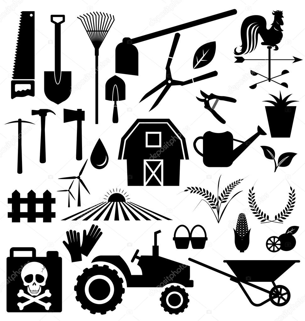 Agricultural equipment and farm — Stock Vector
