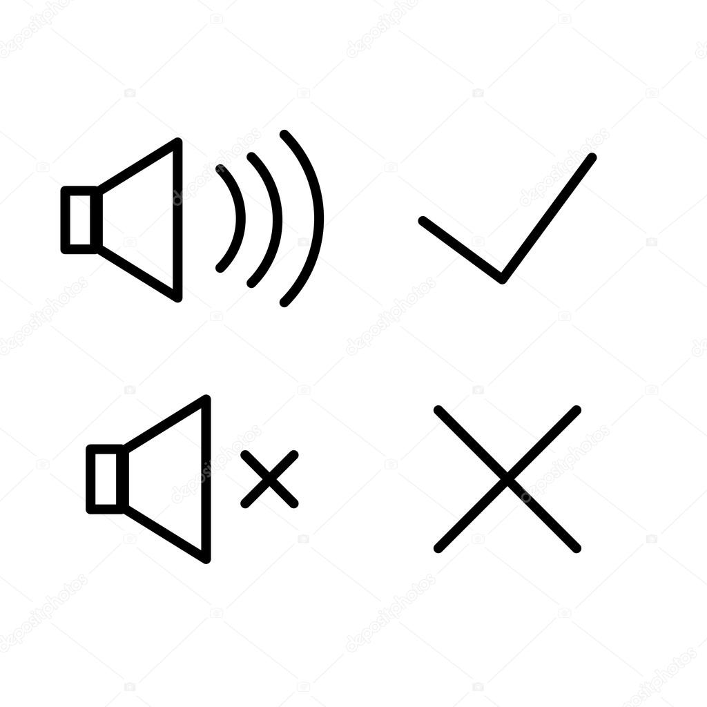 Vector Icons Sound Volume Loud Quiet Tick Cross Mark