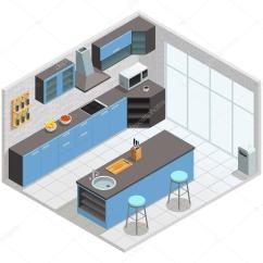 Kitchen Tables & More Semi Custom Cabinets 厨房内等距概念 图库矢量图像 C Macrovector 123586538 厨房内部与柜子桌子和椅子矢量图的颜色等距概念 矢量图片macrovector