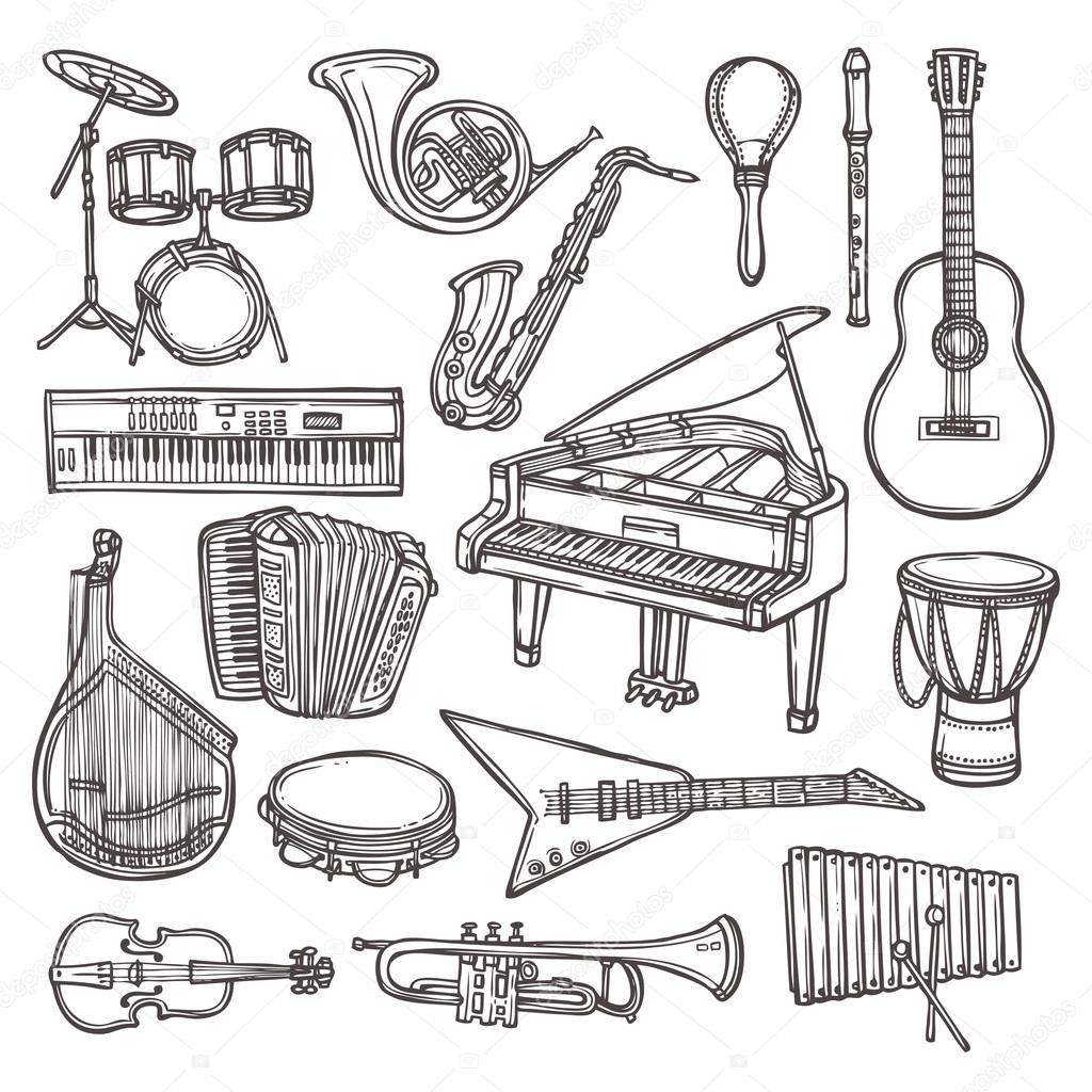 Musical instruments sketch icon — Stock Vector