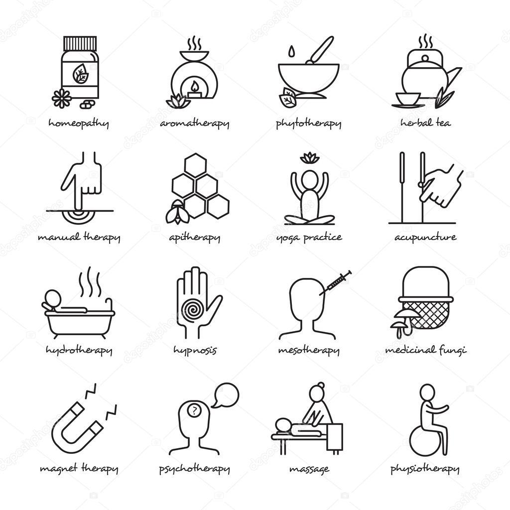 Set di icone di medicina alternativa — Vettoriali Stock