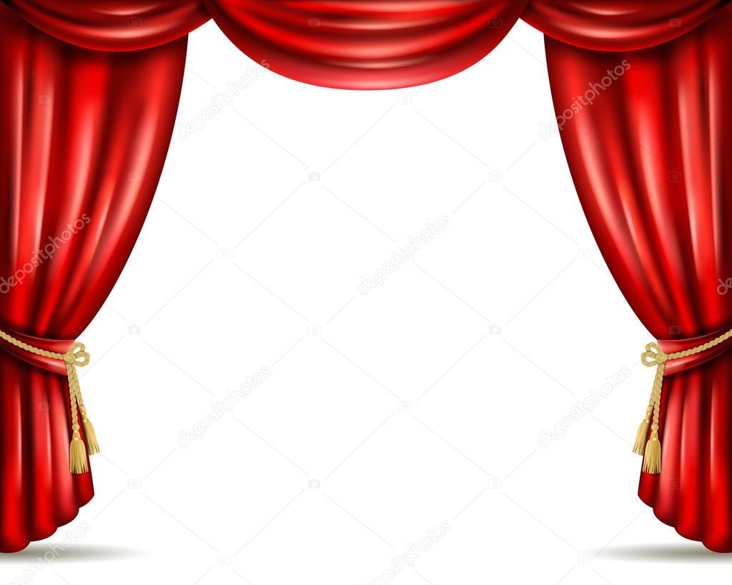 Cortina de teatro aberto ilustrao bandeira plana  Vetor