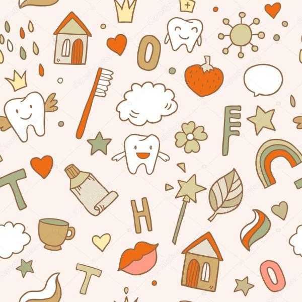 Seamless cute pattern with fairy magic teeth Stock