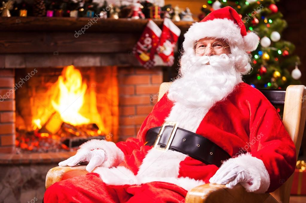 Santa Claus sitting at his chair  Stock Photo
