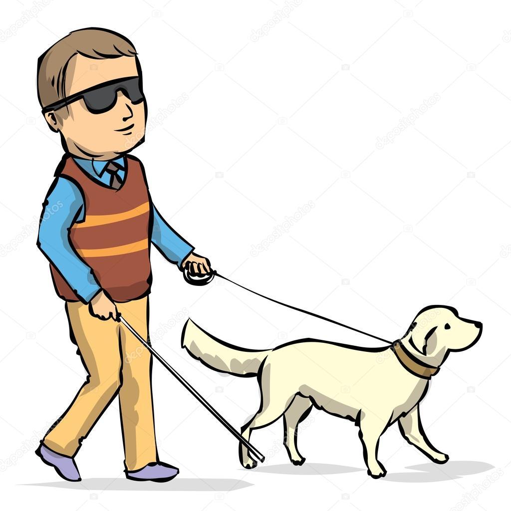 Seeing Eye Hond Begeleiden Een Blinde Man