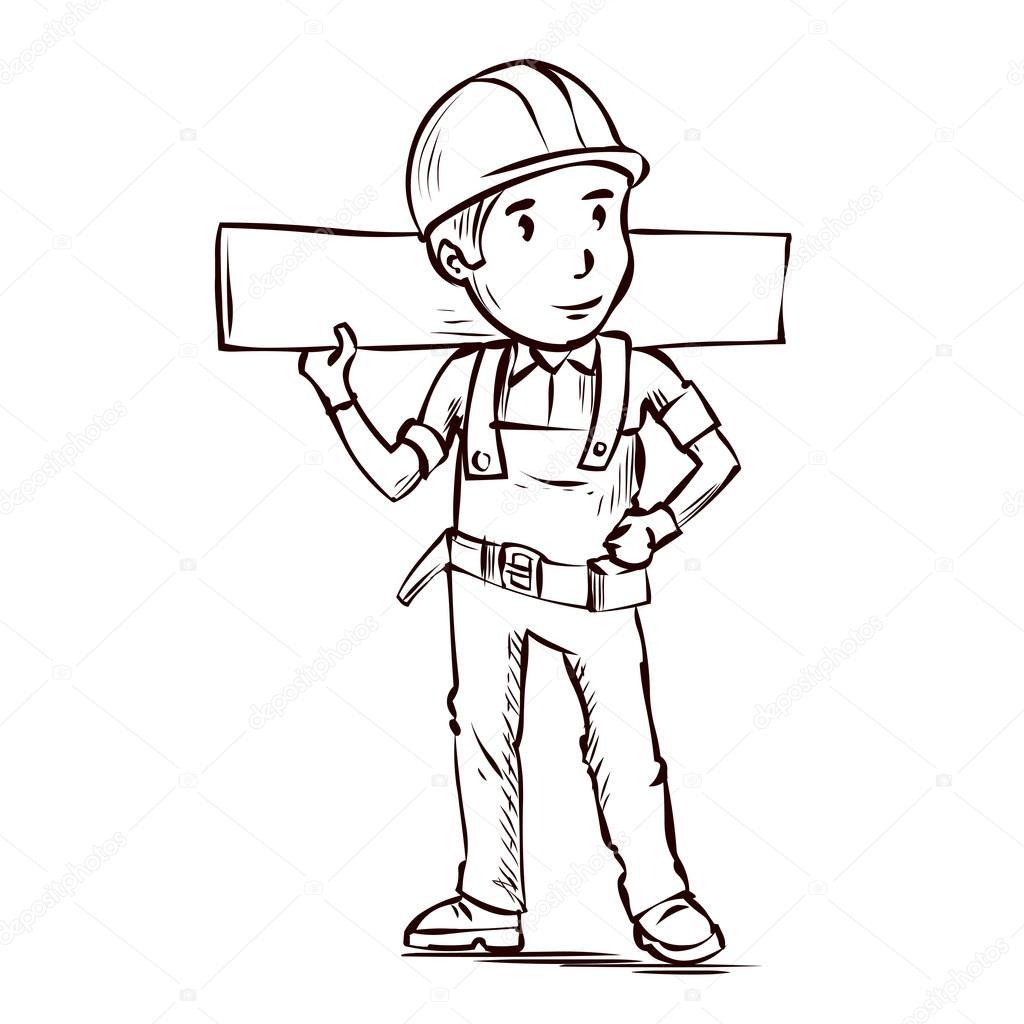 Placa de exploração do trabalhador manual — Vetor de Stock
