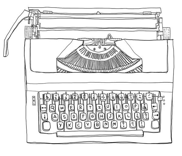 Hand Drawn Retro Typewriter — Stock Vector