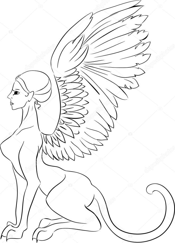 Sphinx mythological creature — Stock Vector © mariaflaya
