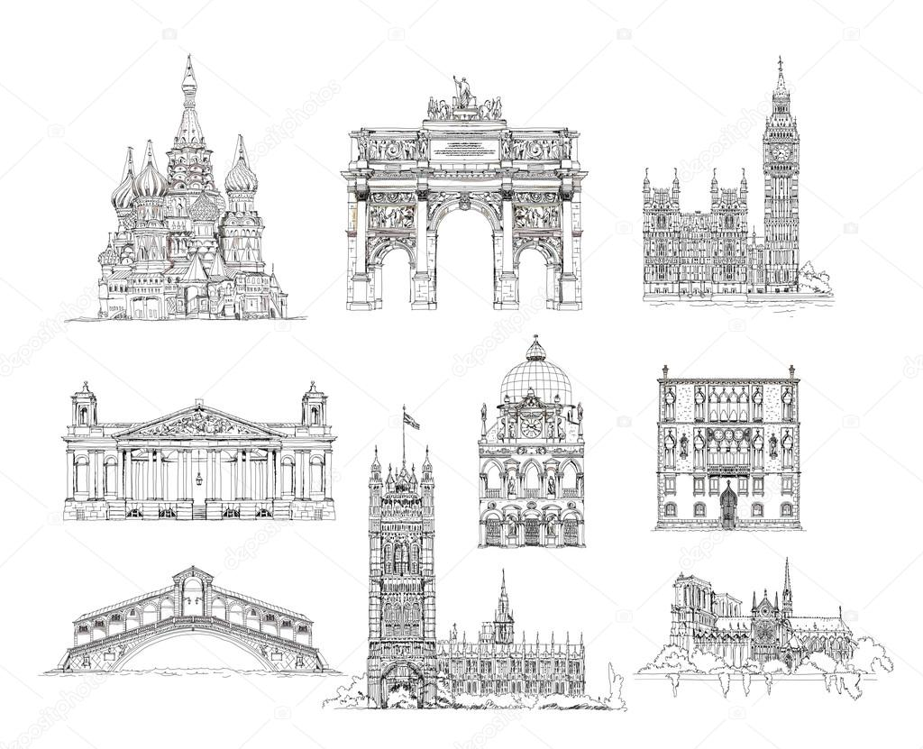 Famous Buildings Sketch Collection St Vasil Cathedral