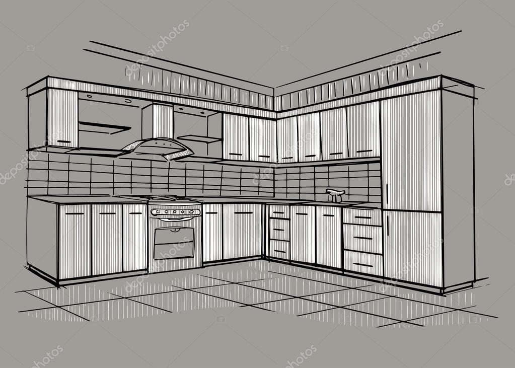 corner hutch kitchen cabinets countertops ideas 现代室内素描的角落厨房 图库矢量图像 c avd 88 75241345 modern interior sketch of design house architecture 矢量图片avd