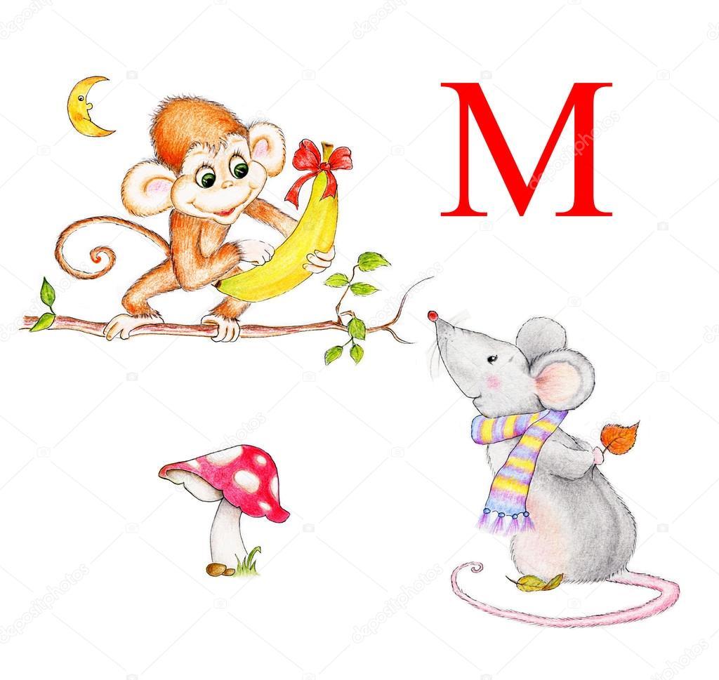 Letter M Monkey Mouse Moon Mushroom