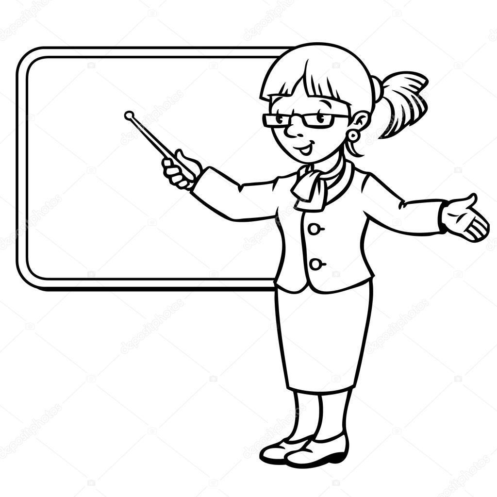 Insegnante Divertente Con Puntatore Serie Di Professione