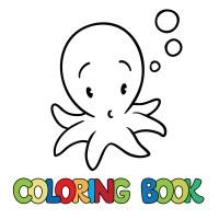 Libro da colorare per bambini, piccolo polpo  Vettoriali ...
