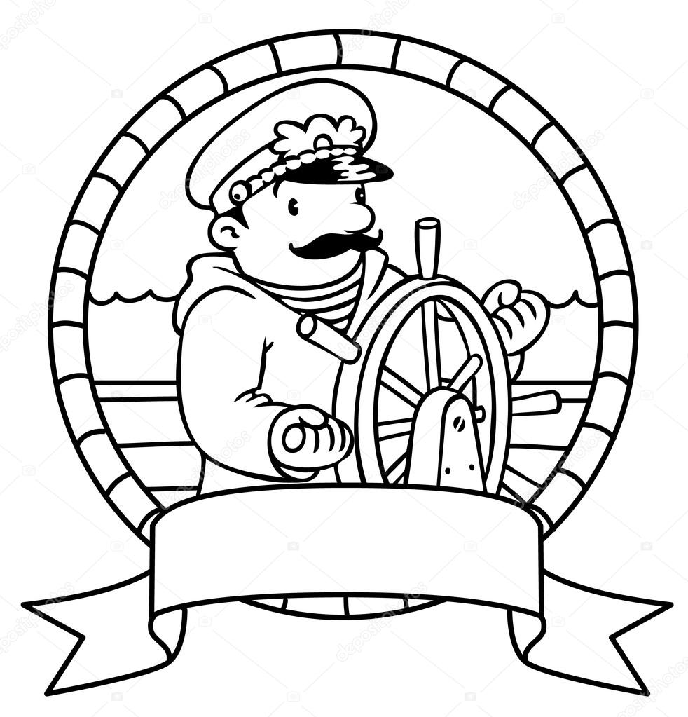 Buffo capitano o yachtman. Libro da colorare. Emblema