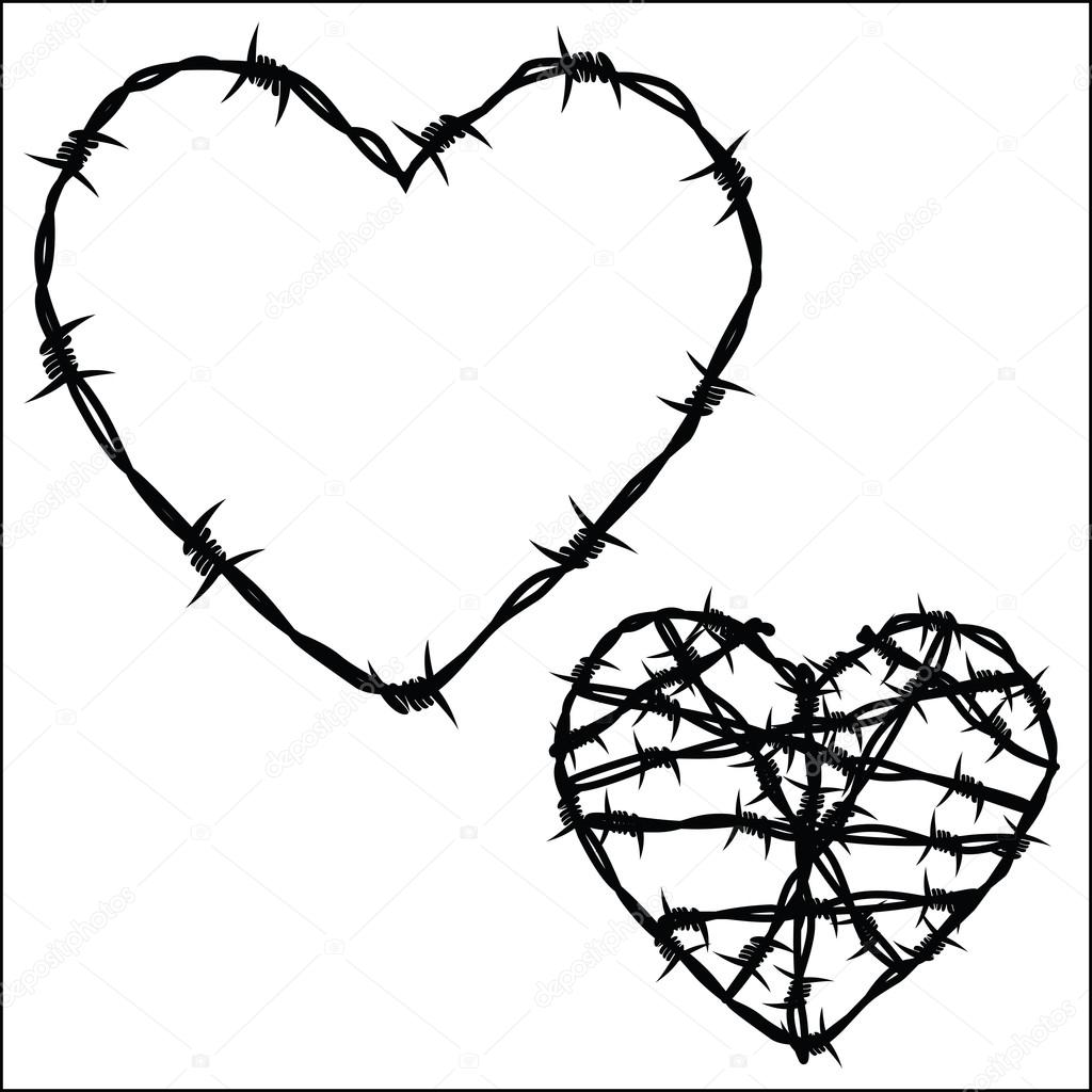 Heart of barbed wire stock vector © fxm73 78294092 barbed wire heart tattoos to go industrial heart barb wire barbed wire tattoo with heart and wings on