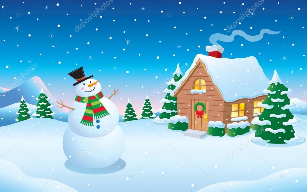 Imágenes: nevando animadas | Muñeco de nieve y cabina nieve invierno escena — Foto de stock © RodSavely #58509129