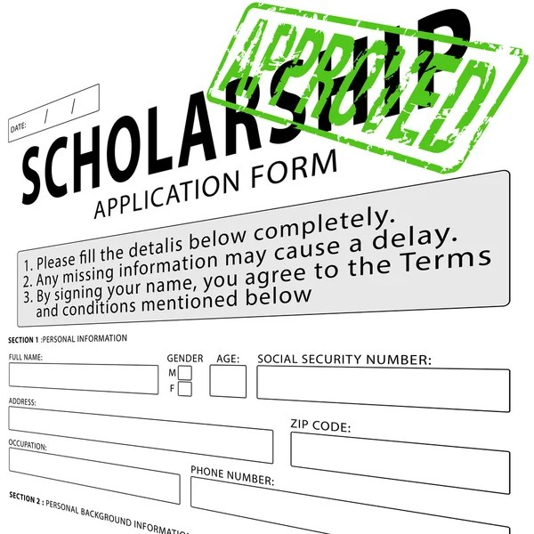 Student loan application form with green approved rubber stamp ...