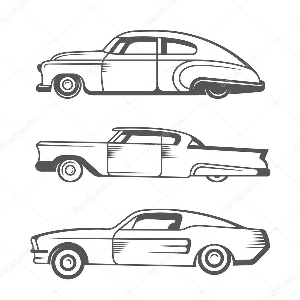 Set Vector Vintage Old Cars