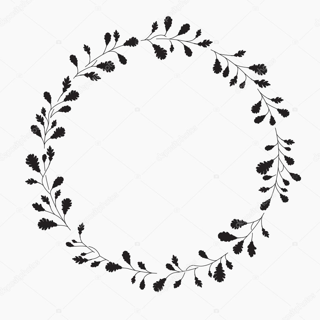 Wreath With Leaves Vector Illustration