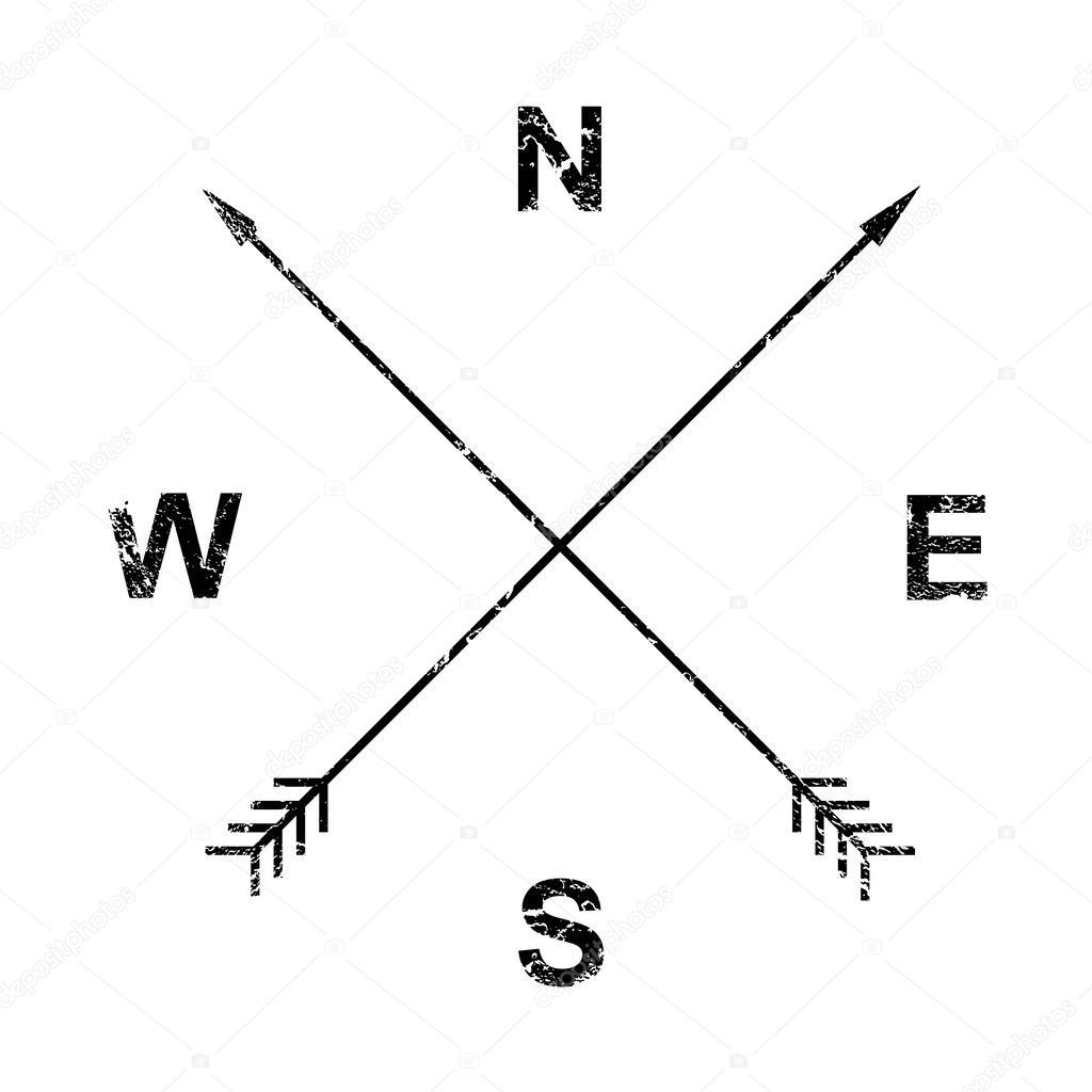 Compass Arrows Grunge Design