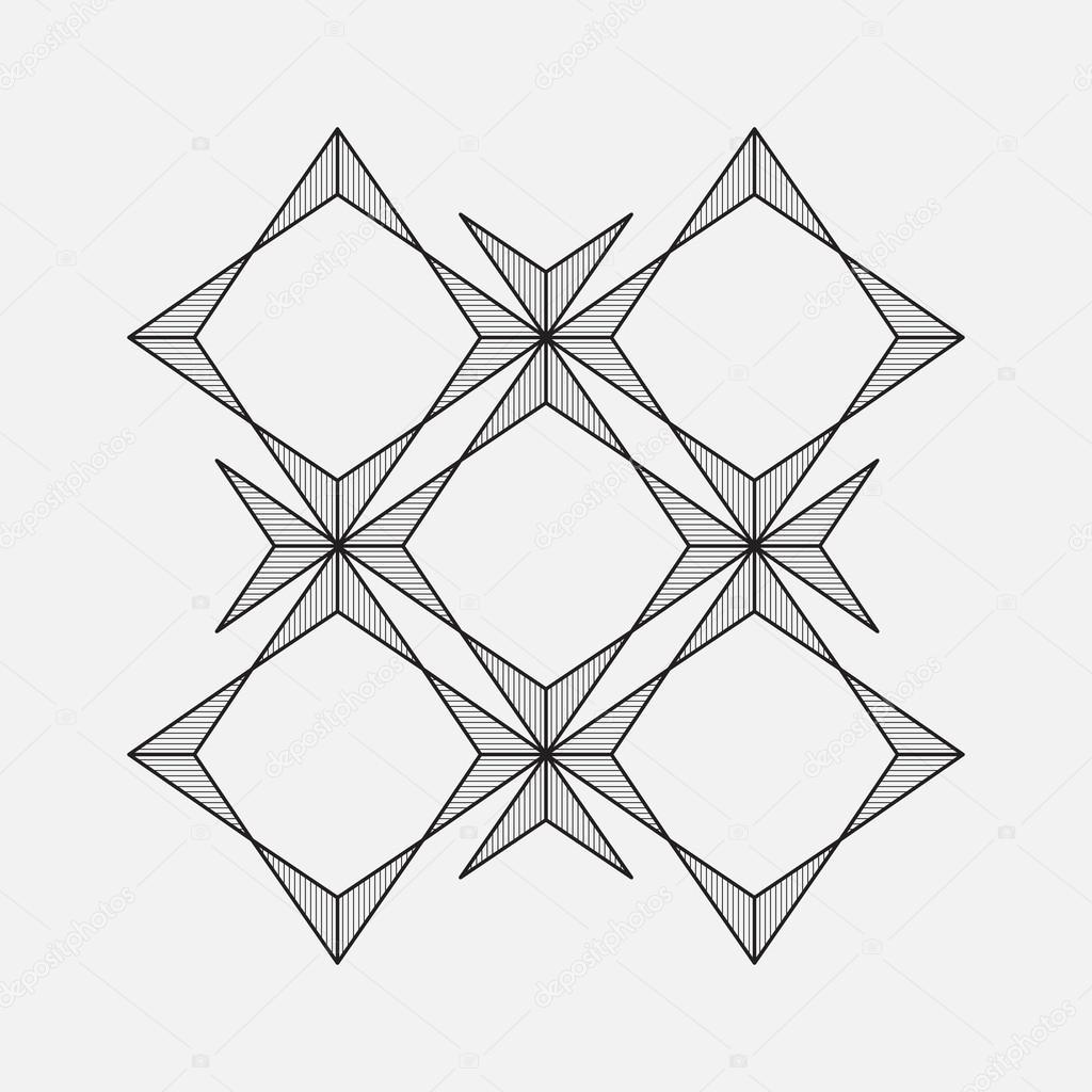 Geometric Pattern Line Design Square And Star Shape